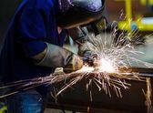 Electric wheel grinding — Stock Photo