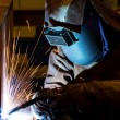 Welding steel structure — Stock Photo