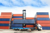 Containers at the Docks with Truck — Stock Photo