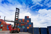 Forklift and container box — Foto Stock