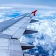 View of jet plane wing — Stock Photo