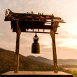 Old bell hung in Buddhist temple — Stock Photo