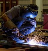 Welding steel structure in factory — Stock Photo
