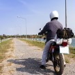 A dirt bike rider ready to go — Stockfoto