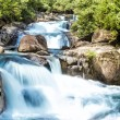 Waterfall and blue stream — Stock Photo