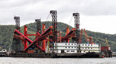 Dredger ship at the harbor — Stock Photo