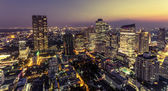 View of Bangkok city at night from high building — Stockfoto
