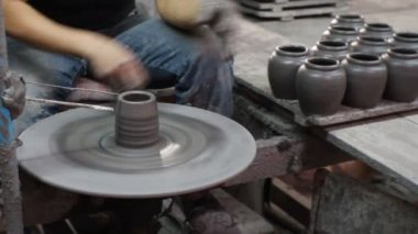 Hands making clay pot at Ratchaburi, Thailand — Stock Video