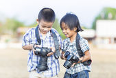 Kids photographer — Stock Photo