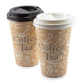 Paper cup with a coffee and tea — Stock Photo