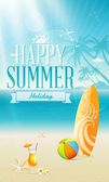 Summer holiday on Beach — Stock Vector