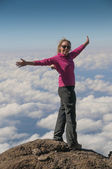 In the Pink above the clouds Kilimanjaro — Stock Photo