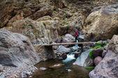 Trekker crossing bridge — Stock Photo