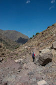 Femal trekker on Toubkal — Stock Photo