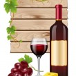 Wine grapes and cheese — Stock Vector