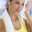 Stock Photo: Sport womwith towel