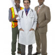Doctor, construction worker and businessman — Stock Photo