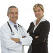 Senior doctor with businesswoman — Stock Photo