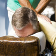Man receiving chiropractic adjustment — Stock Photo