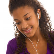 African girl listen music — Stock Photo