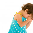 Sad toddler girl rubbing eyes — Stock Photo