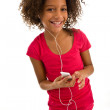 African girl with MP3 player — Stock Photo