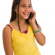Latin girl on phone — Foto Stock