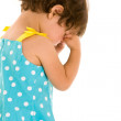 Toddler girl rubbing eyes — Stock Photo