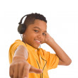 African teenager wearing headphones — Stock Photo