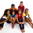 Girls and boys grouped together — Foto Stock