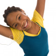 Adolescent with arms in air — Stock Photo