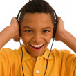 Teenage boy wearing headset — Stock Photo