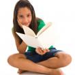 flicka anläggning bok — Stockfoto