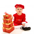 Little girl with christmas present — Stockfoto
