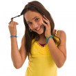 Teenage girl on telephone — Stock Photo