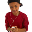 African boy with MP3 player — Stock Photo