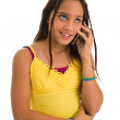 Latin girl on phone — Stock Photo