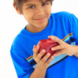 Boy holding red apple — Stock Photo