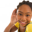Adolescent girl listen — Stock Photo