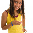 Hispanic teenager listening music — Stockfoto