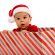 Infant sitting in gift box — Stock Photo