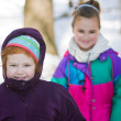 Foto Stock: Girls dressed warm