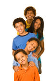 One parent with four boys in a row — Stock Photo