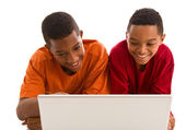 African boys with laptop — Stock Photo