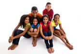Girls and boys grouped together — Stock Photo
