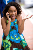 African girl on phone — Stock Photo