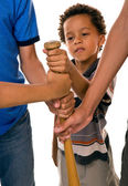 Preschool boy playing hand on bat — Foto de Stock
