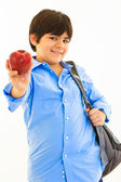 Hispanic boy with apple — Stock Photo