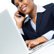 Stock Photo: Businesswomon mobile phone with laptop