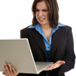 Upset Businesswoman Holding Laptop — Stock Photo